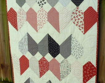Flirty Heart Quilt Blanket Throw