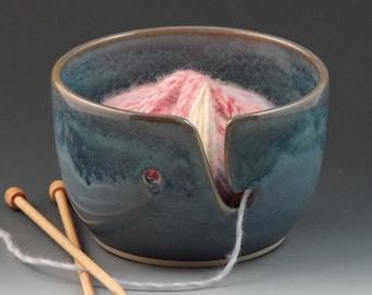 Yarn Bowl in Chambray Blue with a Darker Denim Blue Rim
