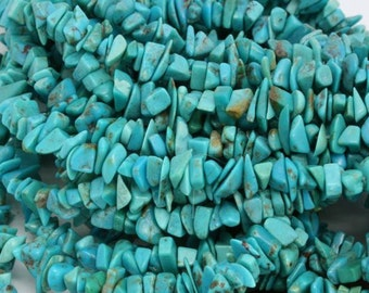 "Turquoise chips. 15-16"" strands. Priced per strand. 4mm-8mm. Stringing, bead embroidery, jewelry beads."