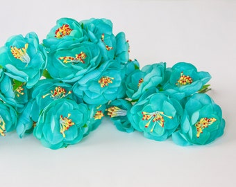 24 Dainty Small Flowers in Light Teal on Wire Stems  - Artificial flowers, Floral Crown supplies , Millinery Supplies - ITEM 0491