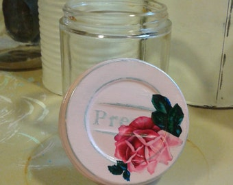 another antique vintage specimen jar presto lid shabby chic cottage pale creamy pastel pink rose distressed mason cap hospital medical glass