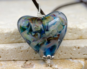 Lampwork Heart - Glass Heart - Heart Necklace - Heart Pendant - Artisan Pendant - Blue Heart Pendant - Glass Heart Pendant