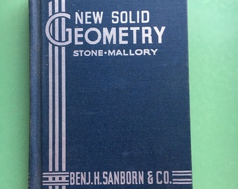 1937 New Solid Geometry Hardcover-Math Book-Mathematician-Art Deco