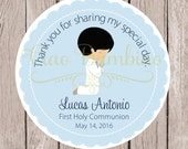 Boys First Holy Communion Favor Tags or Stickers in Powder Blue / Choose Your Hair Color / Set of 12