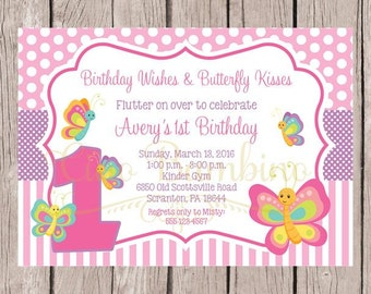 PRINTABLE Butterfly Birthday Party Invitation / Pink and Lavender Butterfly Invitation / Any Age / You Print
