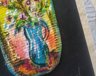 PeaceSwirl Original painting Flowers in Blue vase tiny