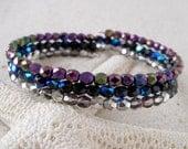 Beaded Bracelet - Gift Idea - Beaded Bracelet - Memory Wire Bracelet - Metallic Beaded Bracelet - Black, Purple, and Silver Bracelet
