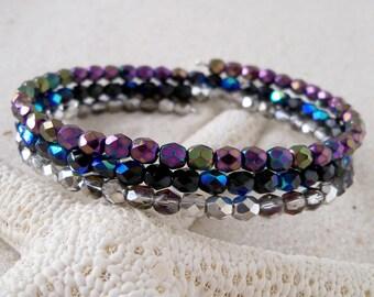 Glass Beaded Bracelet - Glass Beaded Bracelet - Memory Wire Bracelet - Metallic Beaded Bracelet - Black, Purple, and Silver Bracelet