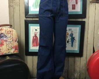 On sale 1970s jeans 70s high waist jeans dark denim size small Vintage jeans with cuffs 26 inch waist