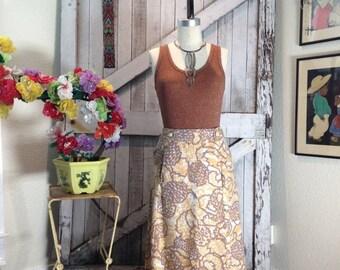 Fall sale 1970s wool skirt 70s maxi skirt size medium vintage YSL abstract print skirt