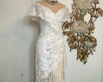 Fall sale 1980s dress lace dress ivory dress off the shoulders vintage dress size medium wedding dress betsy and adam