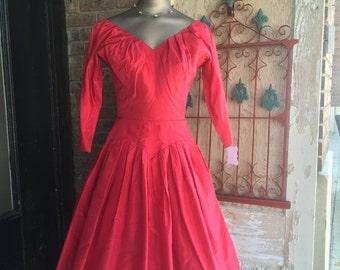 Sale 1950s dress party dress 50s dress taffeta dress cocktail dress size small Mad Men dress vintage dress formal dress