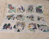 RESERVED Vintage Grandma Moses Cotton BarkCloth New Washed Rare TILES Bark Cloth Unused
