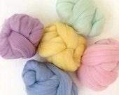 Pastels - 5 colours - Dyed Merino Wool Tops - 125g/4.5oz - Wet / Needle Felting, Roving, Spinning
