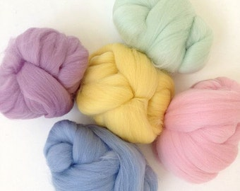 Pastels - 5 colours - Dyed Merino Wool Tops - 125g/4.5oz - Wet / Needle Felting, Roving, Spinning