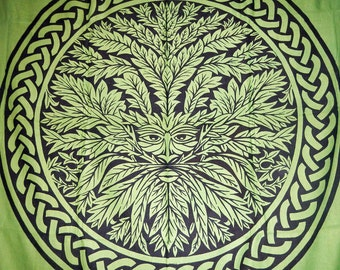 XL Hippie Tapestry Fabric - Green Man