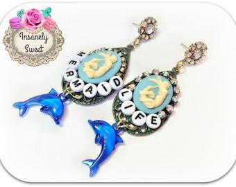 SALE-Mermaid Life Cameo Earrings
