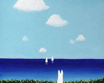 White German Shepherd Dog Beach Ocean Water LARGE Folk art PRINT of Todd Young painting SUMMERTIME