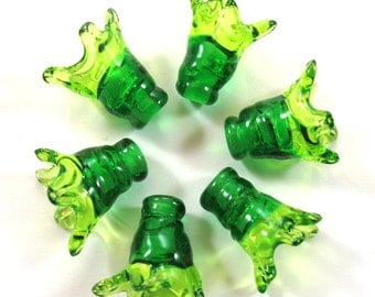 Handmade Lampwork bead glass - Lampwork beads set - Thimble Bell Beads, green, lime (6) SRA