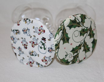 Winter Holly Fabric Wine Coasters set of 2