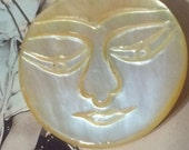 A Vintage Carved Mother of Pearl MOP Awesome ROUND Moon Face Button Large