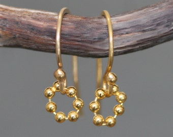Tiny Beaded Circle Earrings in Gold Plate, READY TO SHIP