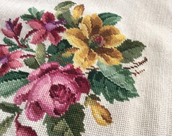 Vintage Needlepoint Panel. Pink Roses, Yellow Flower Cluster on Cream White Background. Embroidery for Framing, Upholstery, Cushions.