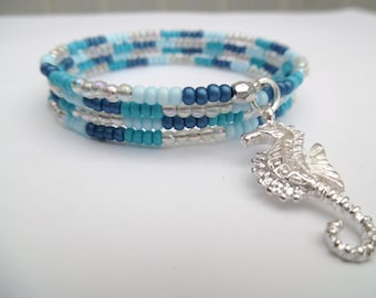 Beaded Wrap Bracelet with Seahorse Charm, Charm Bracelet, Simple Jewelry, Plus Size Bracelet, Blue Bracelet, One Size Jewelry, Beach Theme