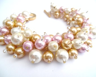 Set of 3 Chunky Bracelets for Bridesmaids Gifts, Pink Pearl Bracelet, Pink Ivory Gold, Cluster Pearls, Pearl Wedding Jewelry, Pearl Crystals