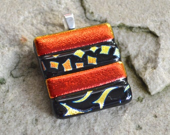 Dichroic Glass Pendant Burnt Orange Metallics and Black Pattern Stripes Square on your Choice of Silver or Gold Bail or Brooch - Gift Boxed