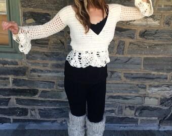 Wrap top, Wrap sweater, ballerina sweater, peplum sweater, peplum top, festival top, crisscross sweater top, gypsy vest, boho sweater top