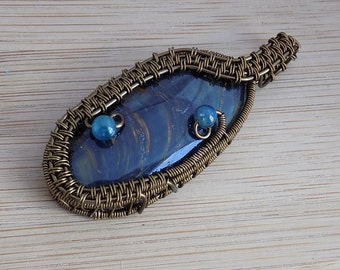 Blue Tigers Eye Cabochon Apatite Beads Wire Wrapped Pendant Vintage Bronze Parawire Wire Wrapped Jewelry Handmade Renaissance Medallion