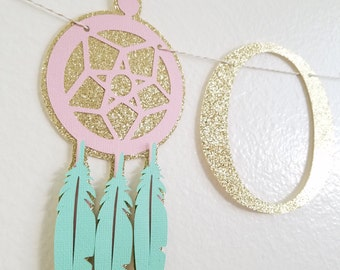 BOHO Baby Shower Garland//Gold Glitter OH BABY//Dream Catcher Tribal Banner//Pow Wow Baby Theme//Boho Party Decorations//Boho Dream Catcher