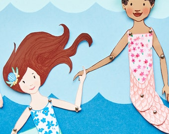 Mermaid Paper Puppets - PDF Printable