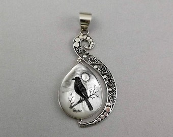 Scrimshaw Pendant, Sterling Silver, Mother of Pearl, Hand Etched, Raven Full Moon,
