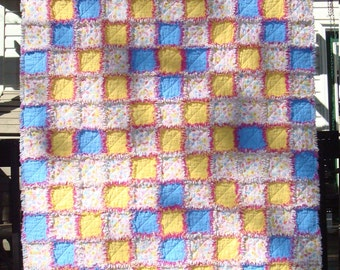 Flannel Rag Crib Quilt in Blue and Yelloiw