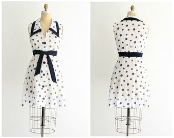 70s polka dot dress | vintage 1970s layered a line navy and white polka dot dress | xs - small