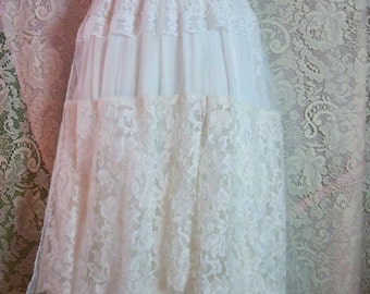 Valentines Sale Ivory lace dress wedding tiered  tulle off shoulder vintage  bride outdoor  romantic small by vintage opulence on Etsy