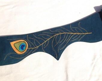 Peacock feather hemp pocket belt utility belt vegan
