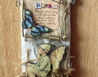 """Altered Mouse Trap """"Dream"""", Mixed Media, Art, Ornaments FREE SHIPPING!!"""