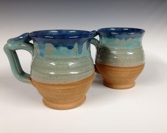 Large round turquoise and blue rimmed mugs, handmade pottery, beer stein, ready to ship