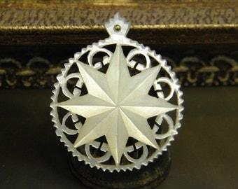 Vintage Mother of Pearl Pendant Star of Bethlehem