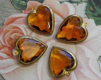 Vintage Heart Charms Glass Channel Set Supply Topaz
