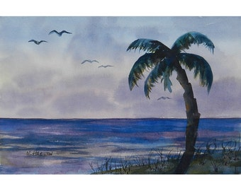 Tropical Dawn; Original Watercolor Painting; Ocean Shore; Palm Tree; First Light; Birds; Shoreline; Tropical; Wall Art Decor; Lavender Blue