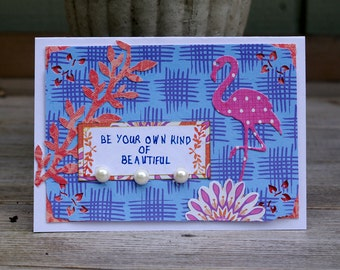 Pink Flamingo Card Handmade Greeting Card