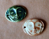 2 Handmade Ceramic Beads - Serene Goddess Cuff Beads - Meditation Face Bracelet Beads in Rustic Glazes