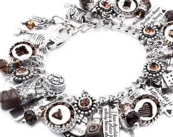 Chocolate Silver Charm Bracelet, Chocolate Jewelry, Candy Jewelry, Candy Bracelet, Candy Charms