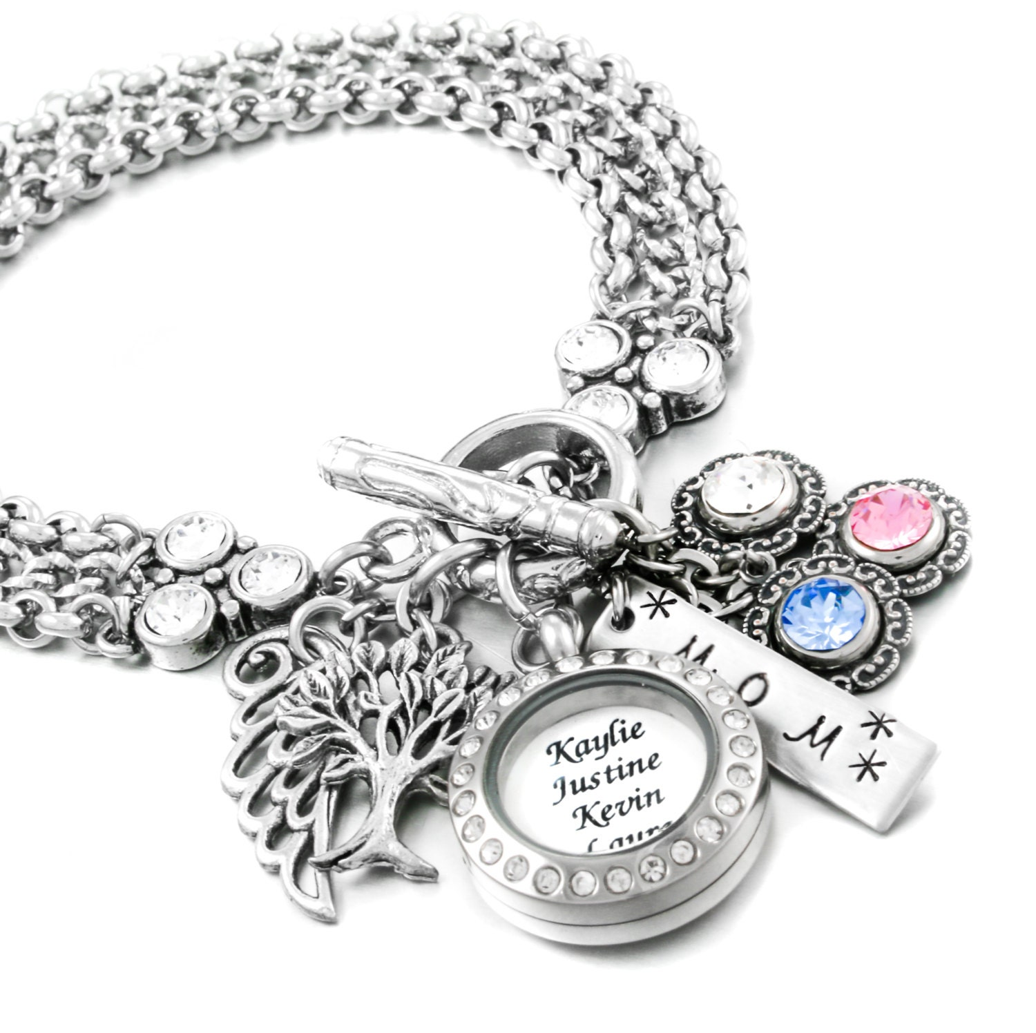 Birthstone Charm Bracelet: Personalized Birthstone Bracelet Mother's Day Bracelet