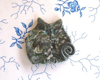 Cat Brooch or Magnet - Fimo Polymer Clay Grey Calico serious cat with turquoise blue eyes