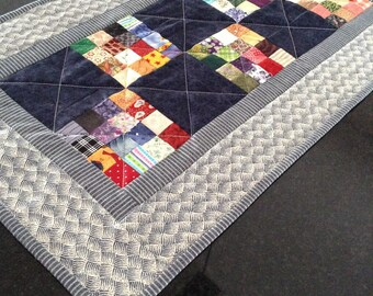 Small patchwork table runner dresser scarf navy blue